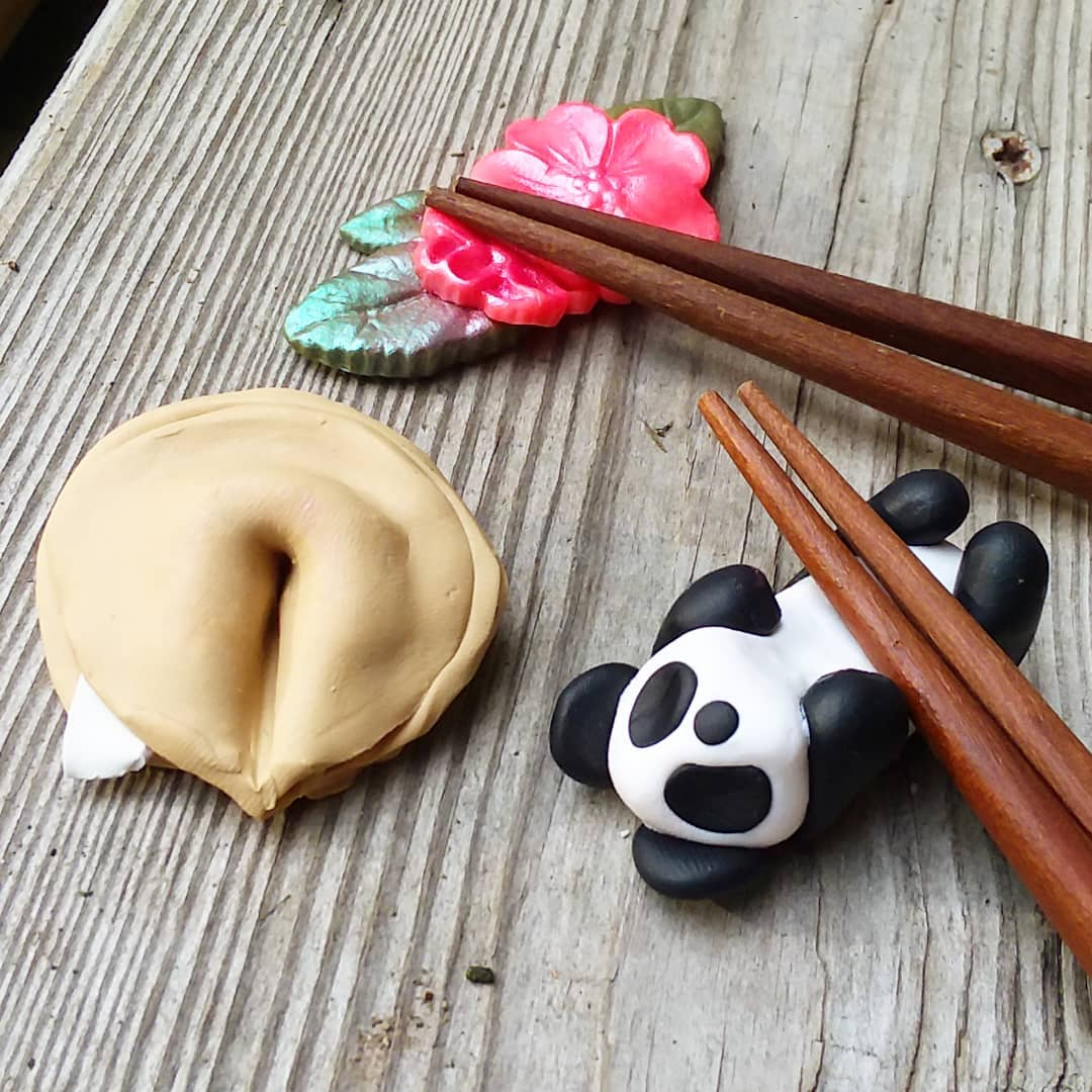 Cute Polymer Clay Chopstick (or Brush) Rests!