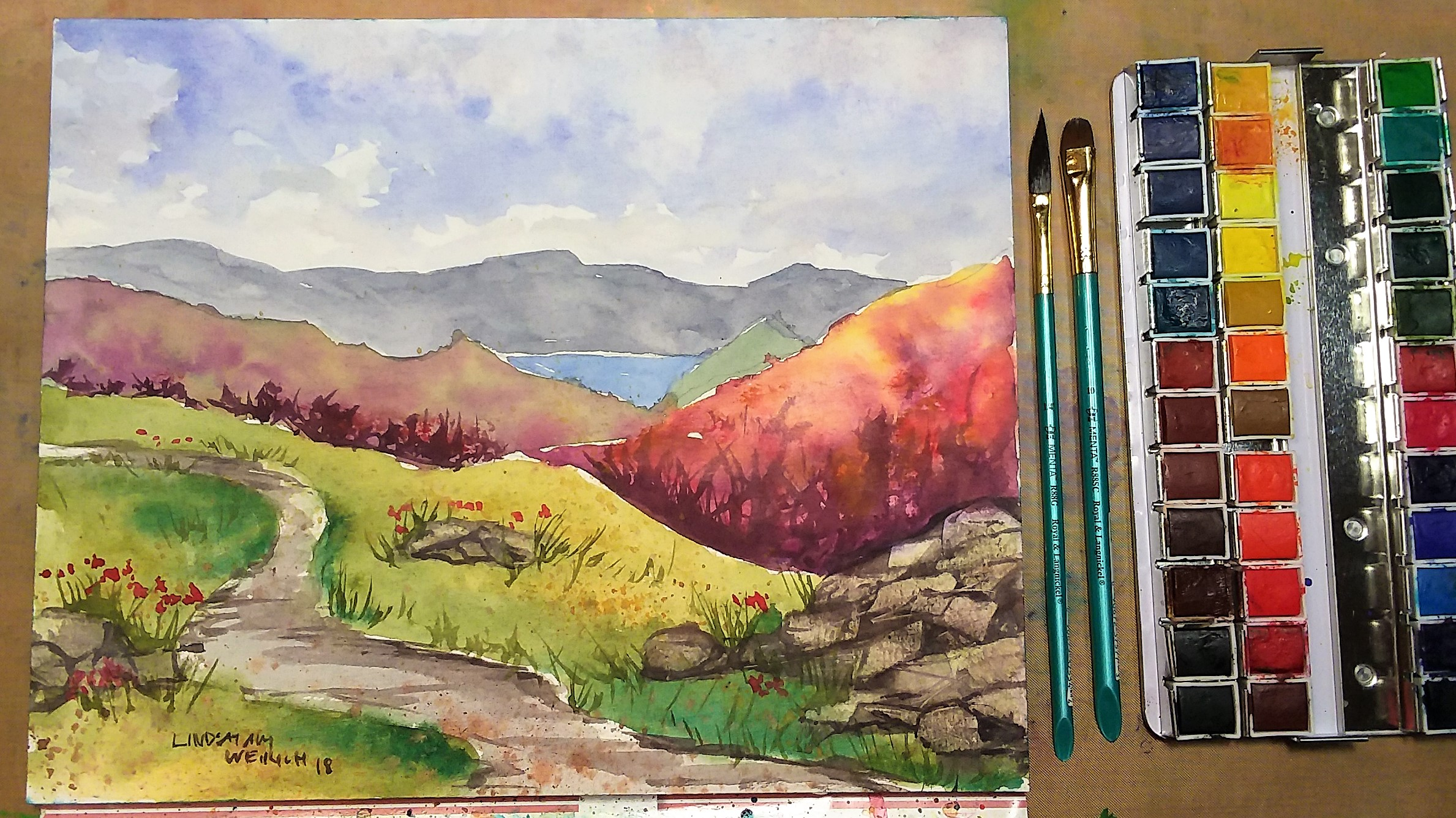 Colorful Mountain Landscape Beginner Watercolor Tutorial!