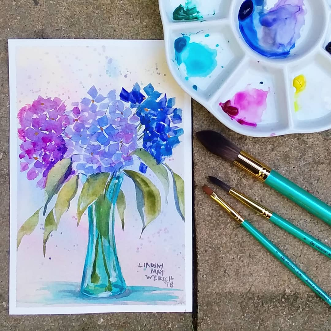 Beginner Watercolor Hydrangea Tutorial!