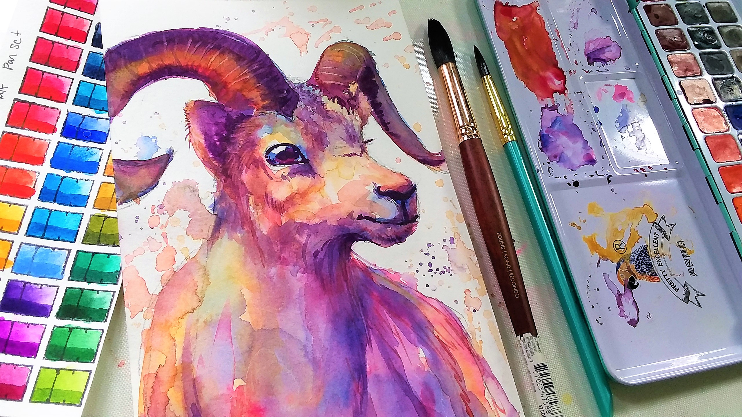 Let's Paint a Colorful Ram in Watercolor!