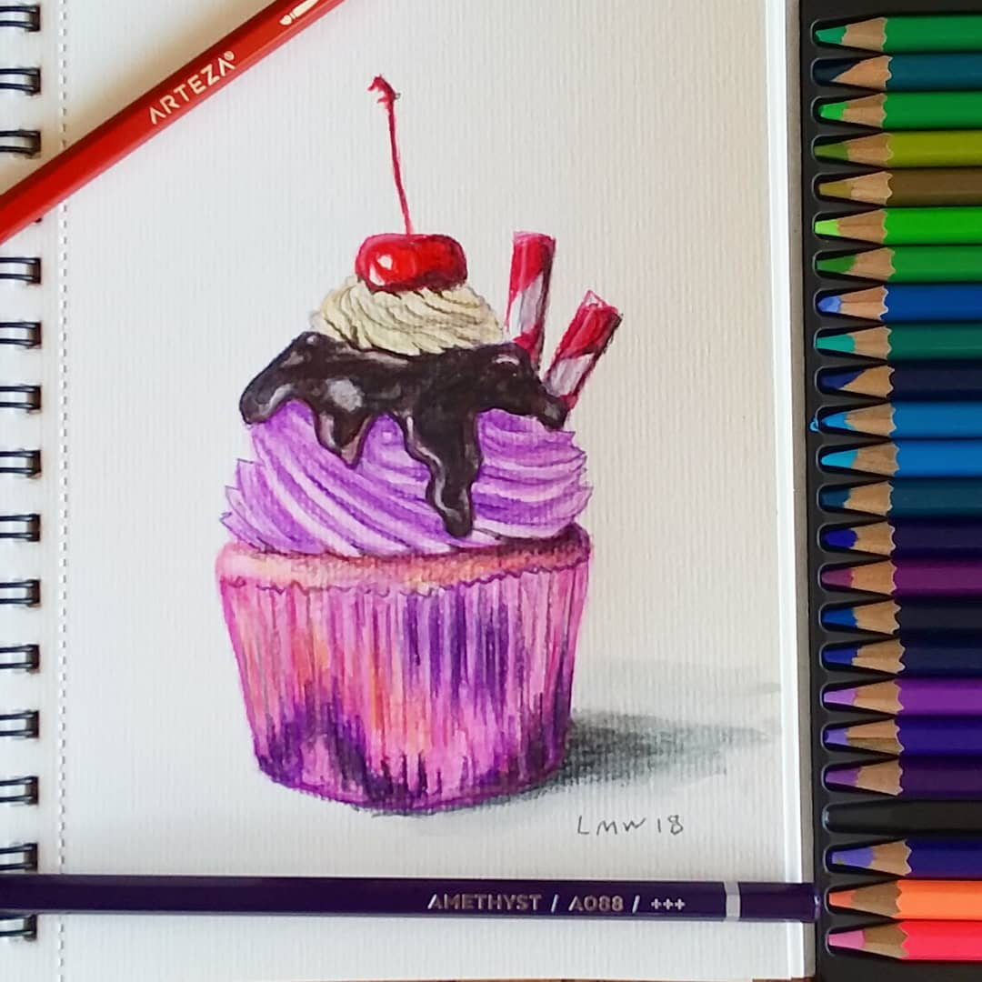 Paint a Purple Cupcake in Watercolor Pencils!
