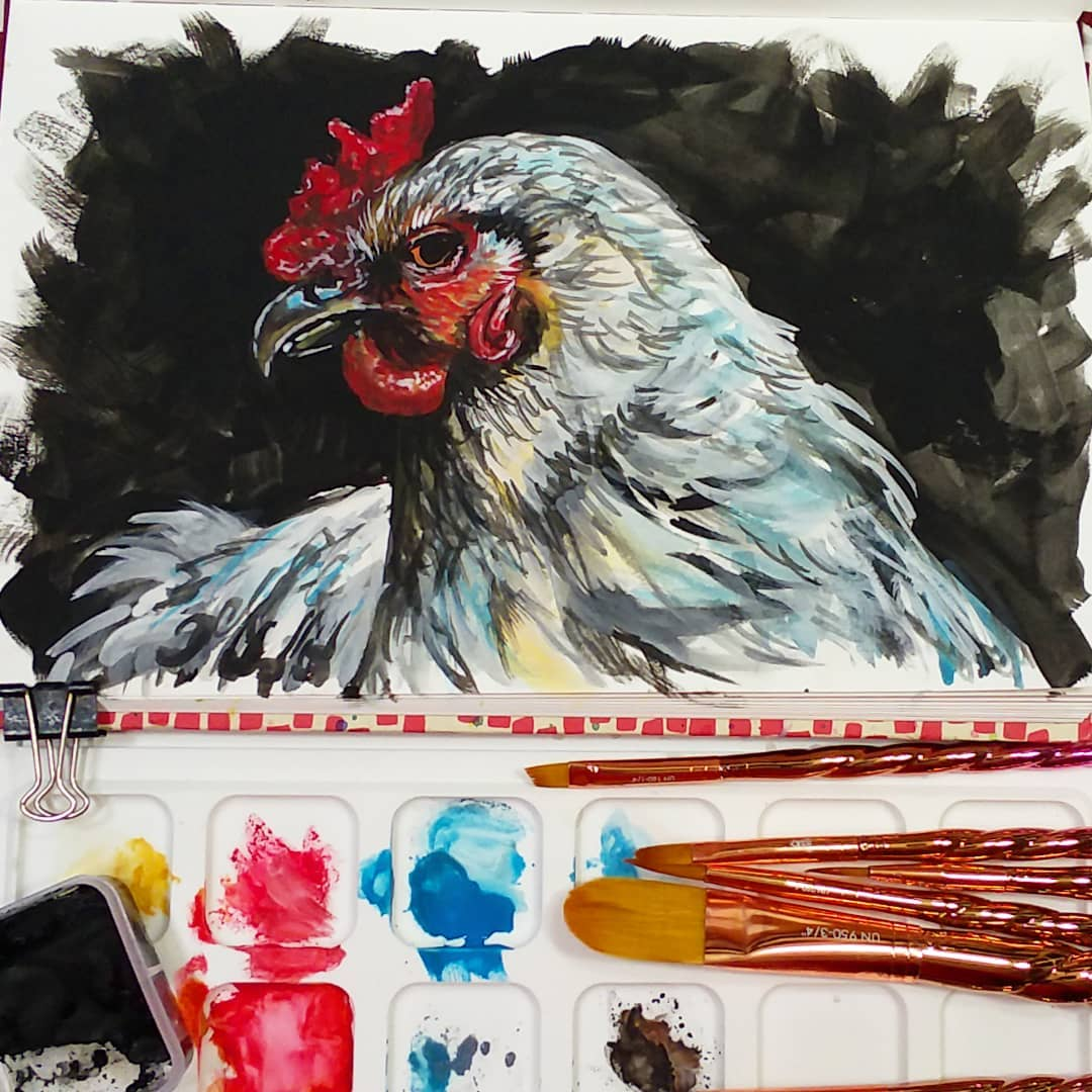 Brush Set Giveaway! Chicken Sketchbook Sunday & Tips for Working with Gouache!