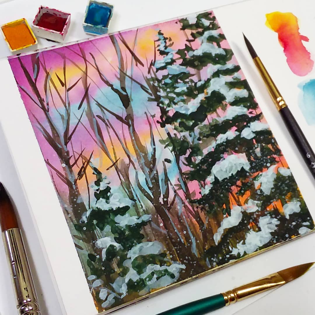 Snowy Sunrise Watercolor For Beginners