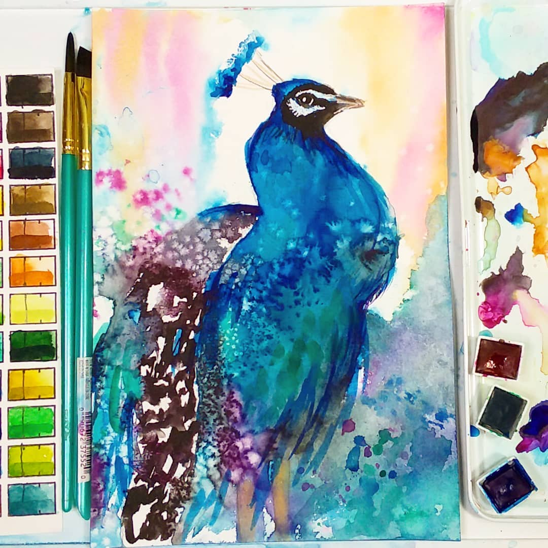 Easy Watercolor Peacock in Loose Style for Beginners!