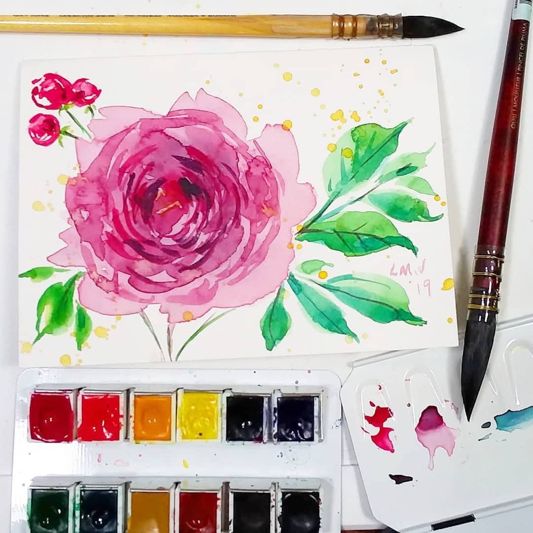 Using a Quill Brush (Beginner Watercolor Practice Flower and Leaf Tutorial)
