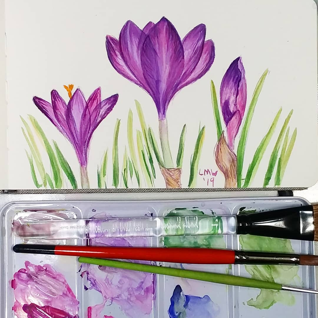 Draw & Paint Crocuses! Easy Real Time Tutorial!