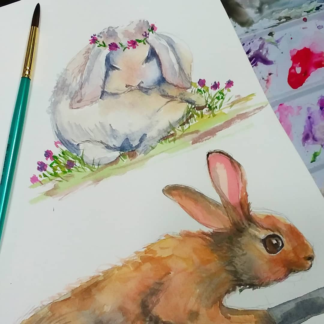 Time for Watercolor Bunnies & 40% off Classes!
