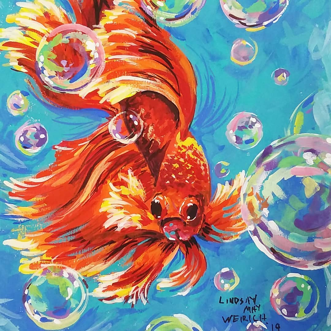 Bubbly Betta Fish // Gouache on Canvas