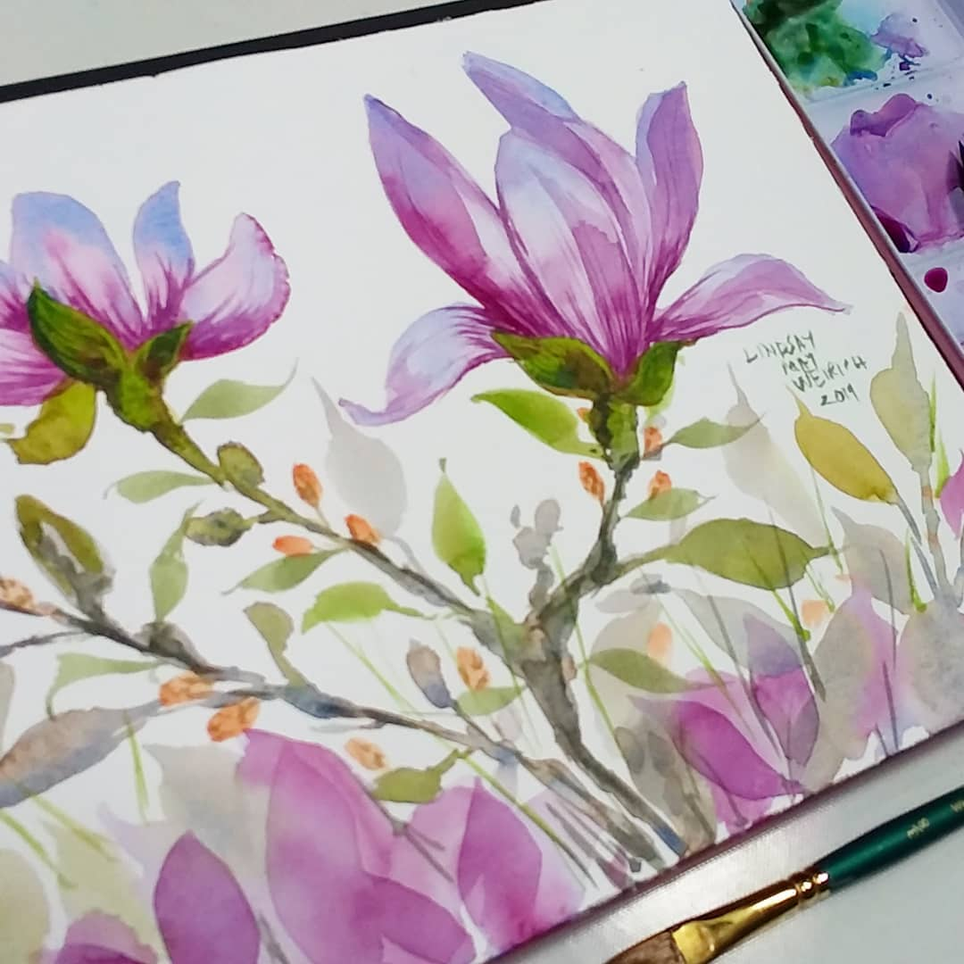 Let's Paint a Magnolia in 4 Colors, No Drawing Required!