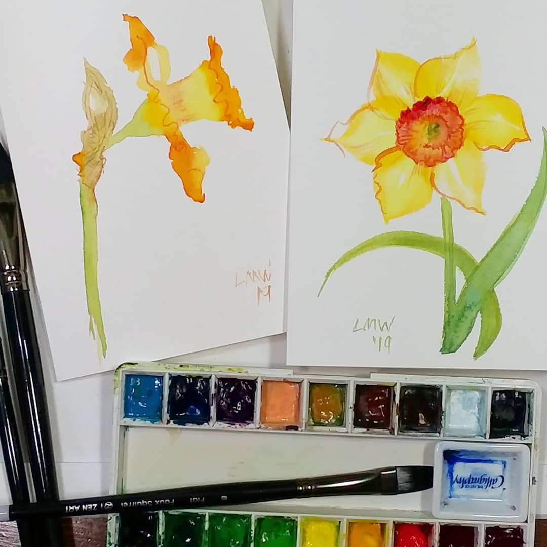 Daffodils from 2 Directions! Paint with Me!