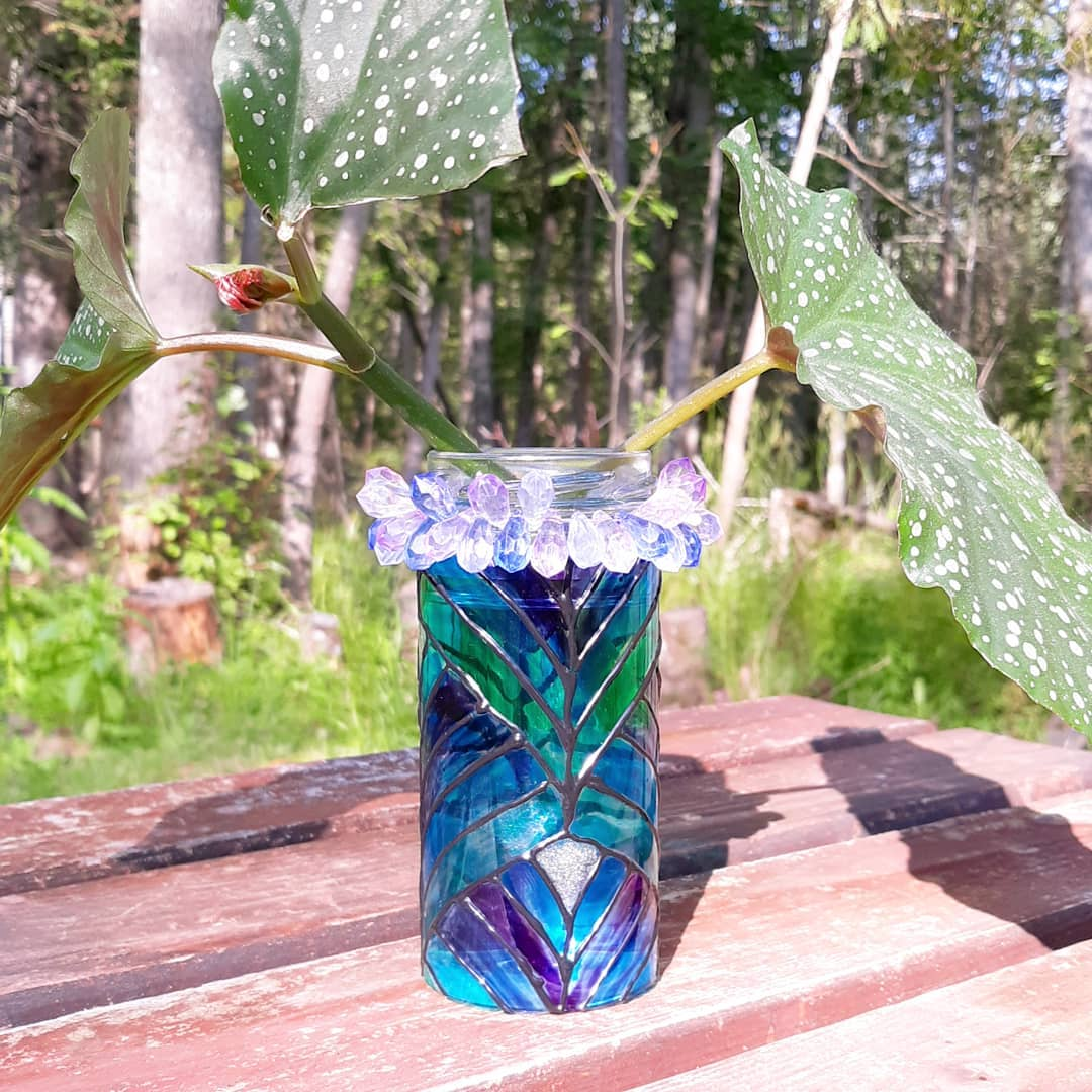 Art Deco Inspired Faux Stained Glass Vase